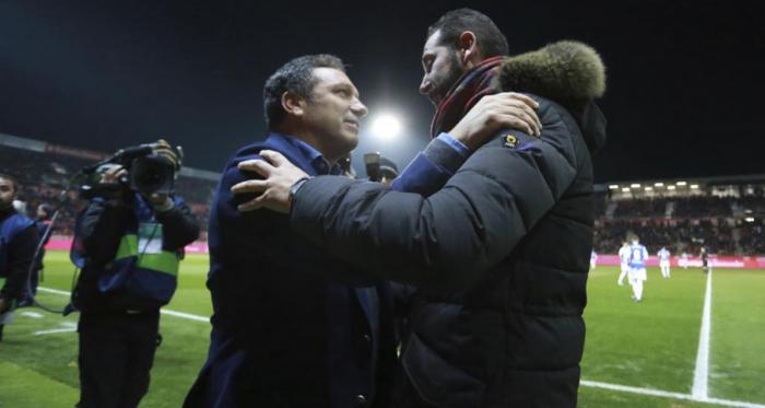 Pablo Machín y Eusebio (su sucesor) en Montilivi (Foto: Girona FC)