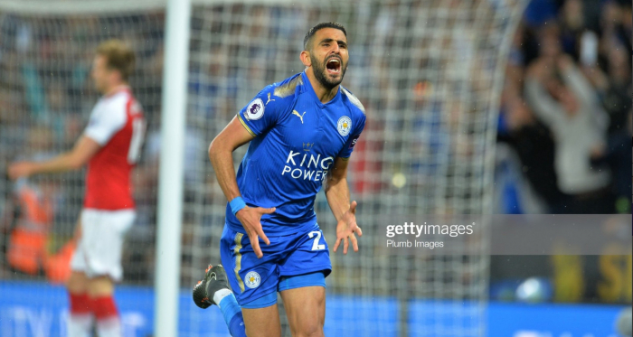 LEICESTER, ENGLAND - MAY 09: Riyad Mahrez of Leicester City scores a goal to make it 3-1 during the Premier League match between Leicester City and Arsenal at The King Power Stadium on May 9, 2018 in Leicester, England. (Photo by Plumb Images - Getty)