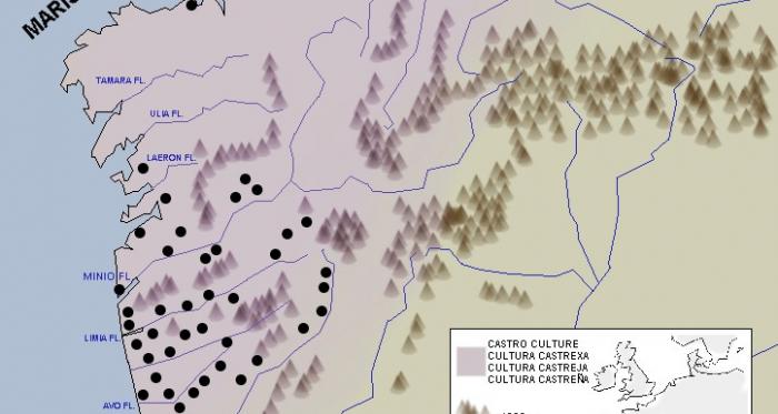 Mapa que representa la expansión de la cultura Castreña en la Península Ibérica. Fuente: Wikicomons