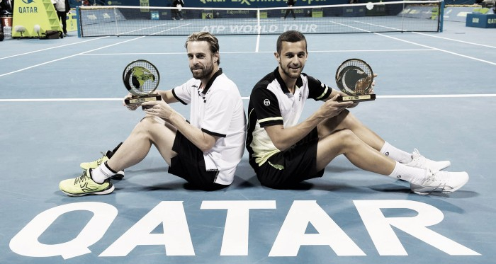 Oliver Marach and Mate Pavic winning their first of three titles this year (Photo: ATP World Tour)