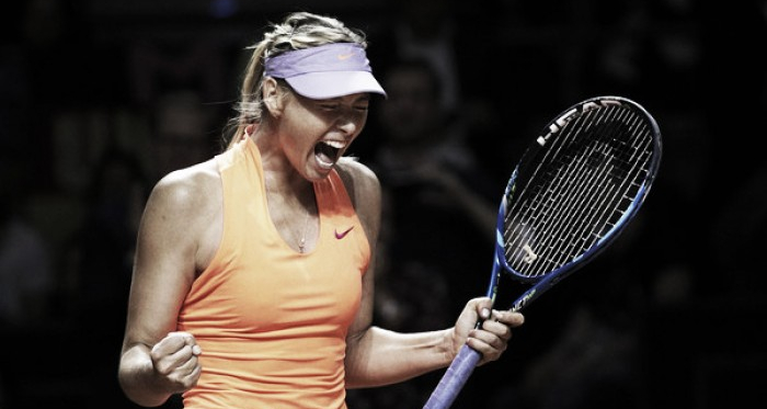 Maria Sharapova celebrates her victory over Roberta Vinci in her first match back | Photo: Adam Pretty/Bongarts