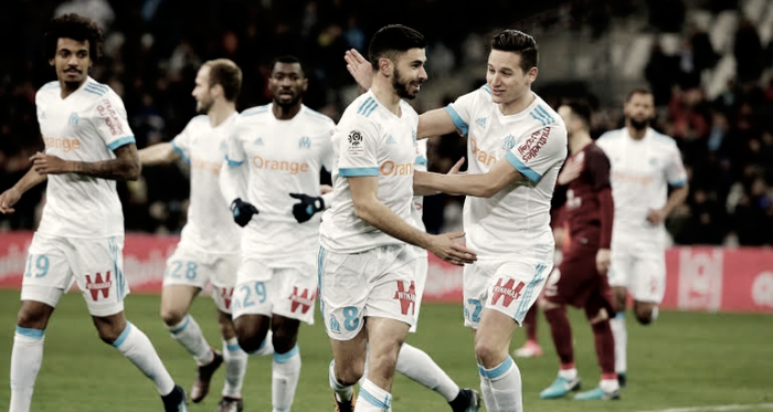 En la fotografía, jugadores del Marsella contentos tras anotar. / Fuente: Olympique de Marsella