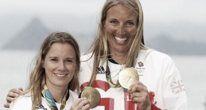 Mills and Clark celebrate winning sailing gold Pic: PA