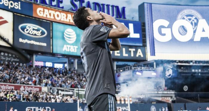 Jesus Medina celebrating the opening goal.   Photo: New York City FC