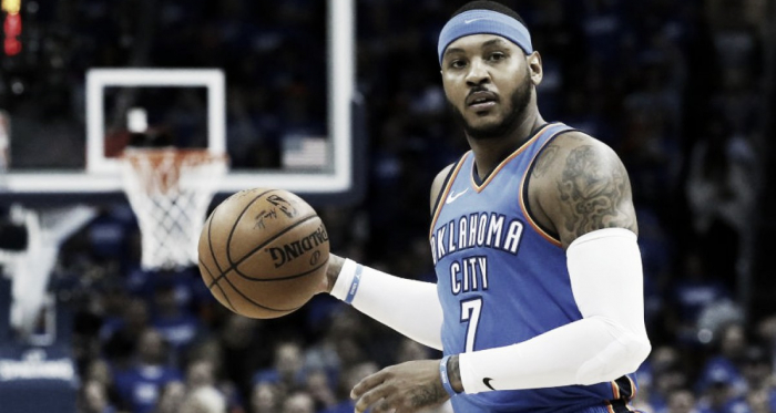 This trade brings Carmelo Anthony one step closer to the Houston Rockets. Photo Credit: Sue Ogrocki/AP Photo.