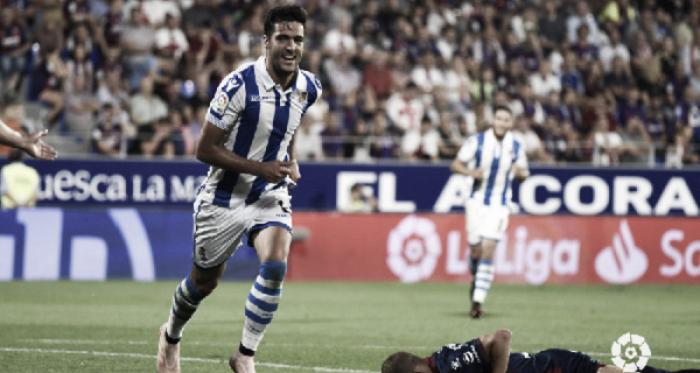 El gol de Merino dio los tres puntos a la Real en El Alcoraz. Foto: La Liga