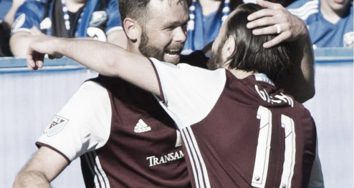 Shkelzen Gashi (Right) celebrating the game tying goal with Bobby Burling (Left) on Saturday against the Montreal Impact at the Stade Saputo. Photo provided by Canadian Press.