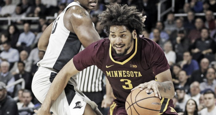 Murphy drives to the basket during Minnesota's win at Providence Monday night/Photo: University of Minnesota athletics website