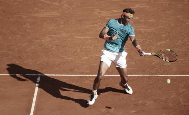 Rafa Nadal en acción durante su partido en Montecarlo ante Guido Pella. Foto: gettyimages.es
