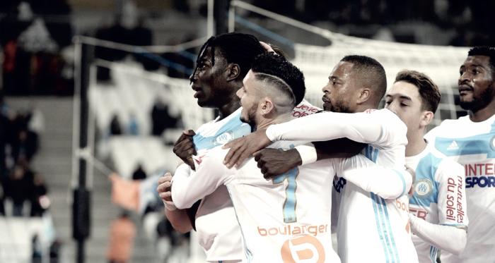 Gomis celebrando con sus compañeros. FOTO: Olympique de Marseille.