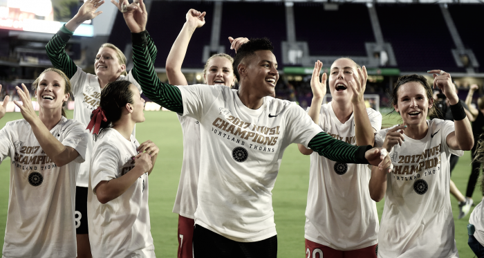 The 2017 NWSL Champions, Portland Thorns, celebrating their win. l Source: Nwslsoccer.com