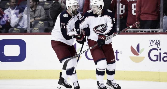 Nick Foligno and Artemi Panarin (Photo courtesy of Sports Illustrated, Patrick Mcdermott)