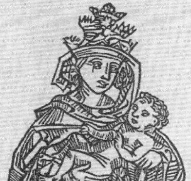 Imagen de la papisa Juana con su hijo, Fuente wikicommons