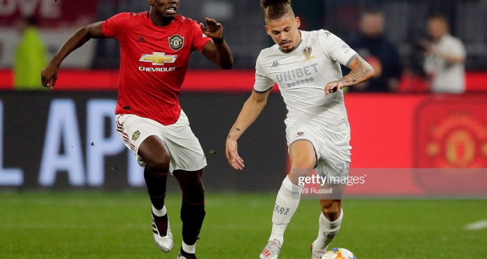 Kalvin Phillips of Leeds United controls the ball during a pre-season friendly match between Manchester United and Leeds United at Optus Stadium on July 17, 2019 in Perth, Australia. (Photo by Will Russell/Getty Images)