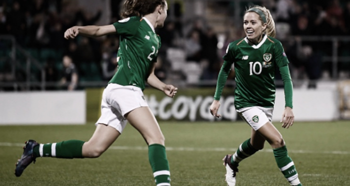 North Carolina Courage midfielder Denise O'Sullivan (10) celebrates with her Ireland teammate.
