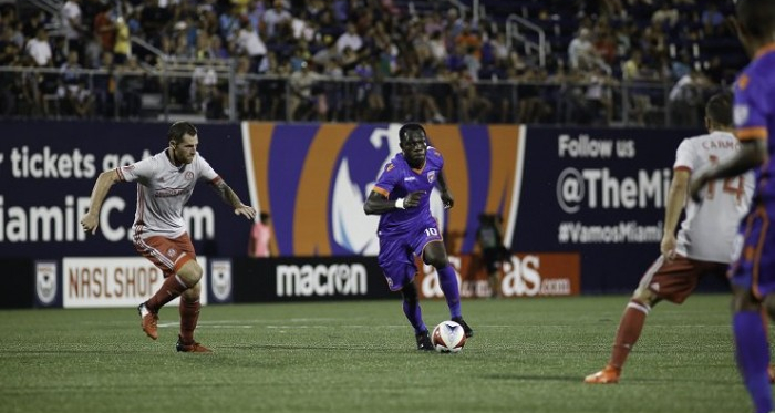 Kwadwo Poku proved the hero for Miami FC, scoring a last gasp winner. (Source: @naslofficial)