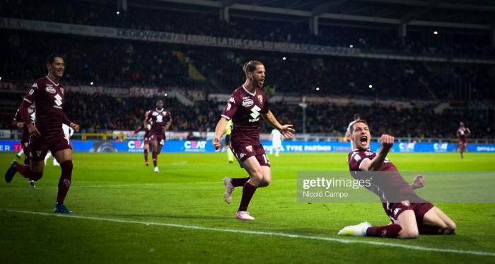 Torino captain Andrea Belotti celebrates scoring a goal against AC Milan last season (Getty Images/Nicolo Campo)