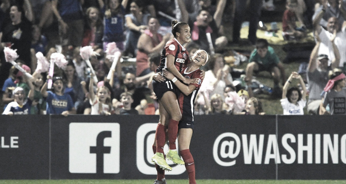 Mallory Pugh celebrates after scoring late in a 2-1 win over the North Carolina Courage. | Photo: isiphotos via @WashSpirit