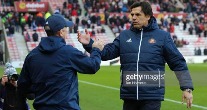 Tony Pulis (above) shaking hands with Chris Coleman, after last weeks three all draw with rivals Sunderland.