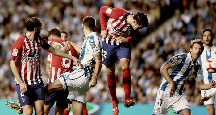 Álvaro Morata remata un balón aéreo    FOTO: Club Atlético de Madrid.