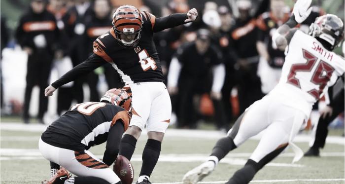Randy Bullock sumó tres puntos en los últimos segundos para romper con una racha de los Bengals que llevaban dos derrotas consecutivas | Foto: Bengals.com