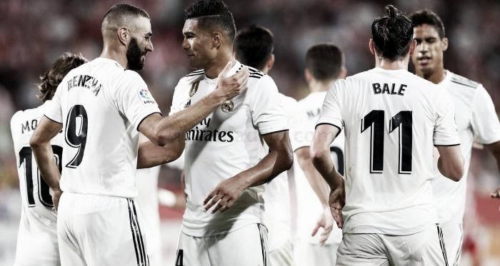 Los jugadores celebrando un gol en Liga | Foto: Realmadrid.com