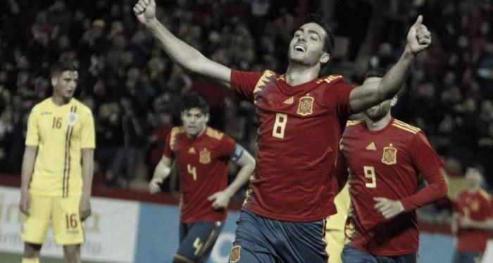 Mikel Merino celebra su gol que daba la victoria a España / Foto: Antonio L. Juárez (cedida)