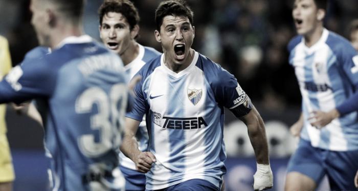 Ricca celebrando el gol ante el Cádiz. | Foto: Málaga CF