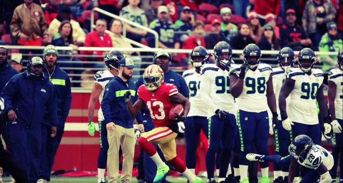 Richie James Jr. realiza una carrera de 97 yardas para touchdown. Foto: San Francisco 49ers