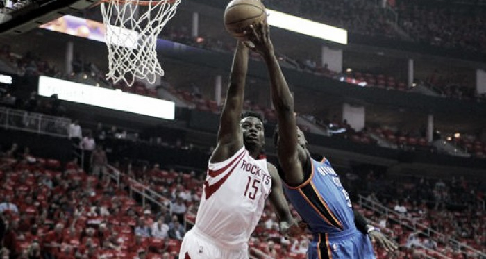 Houston Rockets center Clint Capela (15) blocks the shot attempt of Oklahoma City Thunder guard Victor Oladipo (5). Photo: Erik Williams-USA TODAY Sports