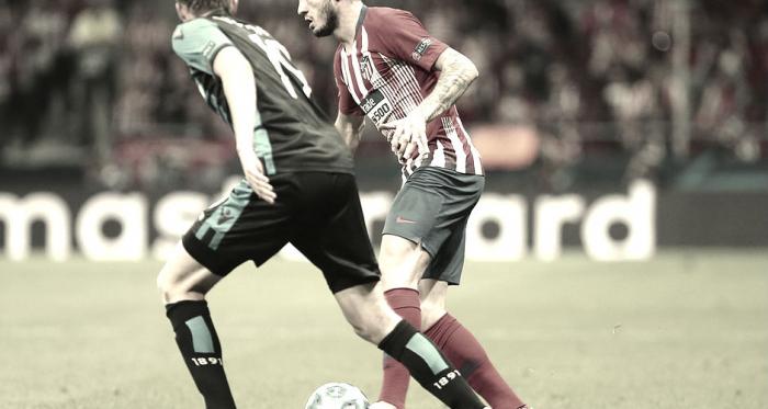 Saúl vs Club Brujas en la ida de la fase de grupos de la Champions League.<div>Imagen del Club Atlético de Madrid.</div>