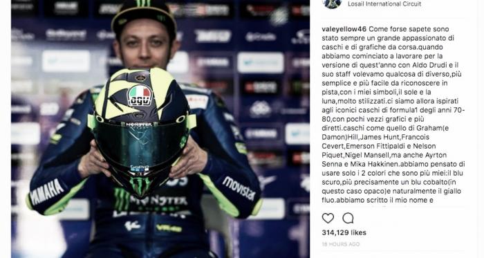 Valentino Rossi inspira novo capacete em pilotos como Senna e Piquet