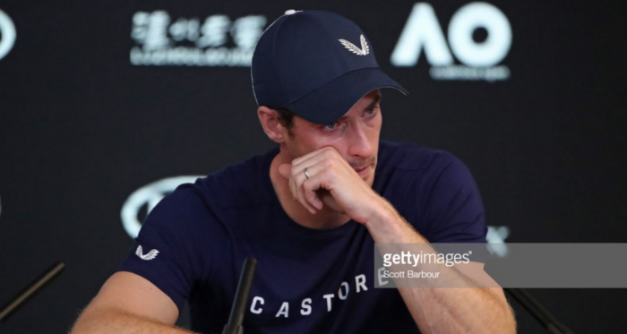 A tearful Andy Murray speaks at his pre-tournament press conference in Melbourne (Scott Barbour/Getty Images)