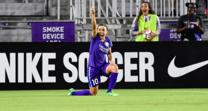 Marta celebrates after scoring the game-winning goal. | Photo: Roy K. Miller - isiphotos.com