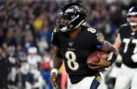 Lamar Jackson in action against the New England Patriots (Photo: Will Newton)