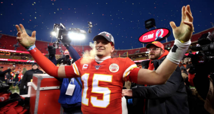 Patrick Mahomes celebrates winning the AFC Championship (Photo: Jamie Squire)