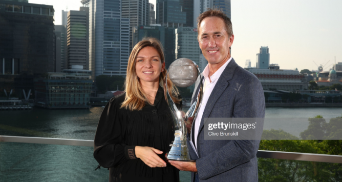 Simona Halep and Darren Cahill together after the Romanian secured the year end number one ranking in 2018 (Getty Images/Clive Brunskill)