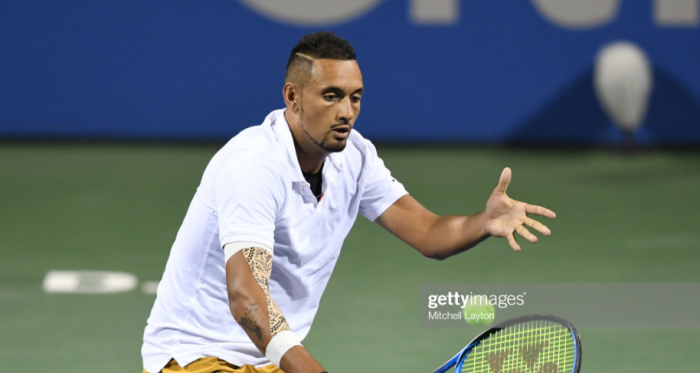 Nick Kyrgios in action this week (Getty Images/Mitchell Layton)