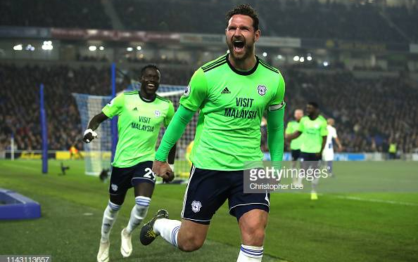 Cardiff's captain Sean Morrison celebrating scoring Cardiff's second goal. Image courtesy of Christopher Lee on Getty Images.