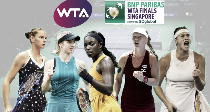 Karolina Pliskova, Elina Svitolina, Sloane Stephens, Kiki Bertens, and Aryna Sabalenka will be fighting to claim the last three spots in Singapore | Edit: Don Han