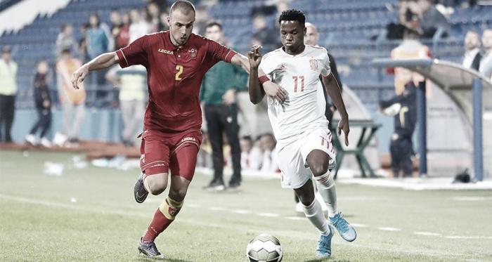 Ansu Fati en el partido ante Montenegro / Imagen:@Sefutbol