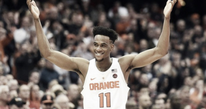 Oshae Brissett celebrates as Syracuse hang on to beat Maryland/Photo: Dennis Nett/Syracuse.com website
