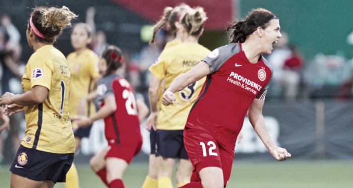 Christine Sinclair with the Portland Thorns at Providence Park in Portland, OR on July 6, 2018 | Photo: Portland Thorns FC