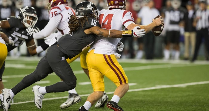 Sam Darnold is sacked as USC fall to Washington State in Pullman (image source: Brandon Farris/Vavel)