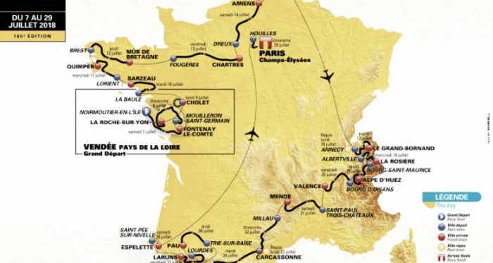 Itinerario oficial del recorrido del Tour de Francia 2018 | Fuente: Tour de France