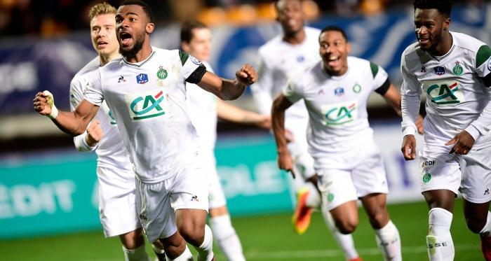 Habib Maïga, célébrant son deuxième but dans sa carrière professionnelle (Source : ASSE)