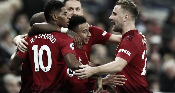 Los jugadores del United celebran el triunfo. Foto: Premier League.