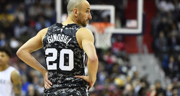 San Antonio Spurs guard Manu Ginobili (20) on the court against the Washington Wizards during the first half at Capital One Arena. |Brad Mills-USA TODAY Sports|