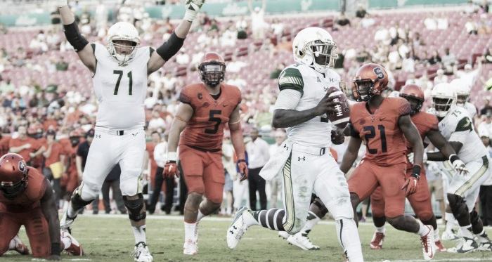 USF quarterback Quinton Flowers rushes for one of his 12 touchdowns in 2015.(Photo Credit: Logan Bowles / USA Today)