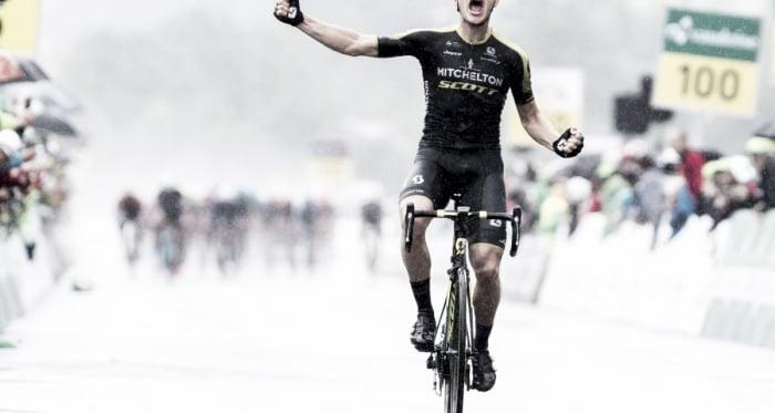 Christopher Juul-Jensen en la linea de meta /Foto Tour de Suisse